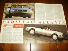 1992 CADILLAC ALLANTE  ***ORIGINAL  ARTICLE / ROAD TEST***