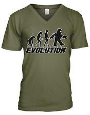 Evolution Killer Robot Attack Scifi Movie Monkey Ape Human Men's V-Neck T-Shirt