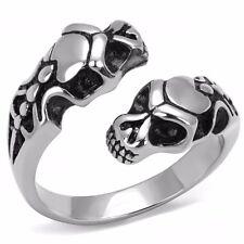 Double Snake Head Shape 316 Stainless Steel Mens Ring SZ 8-13