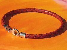 Ladies / mens 4mm Red-Brown leather & sterling silver bracelet by Lyme Bay Art.