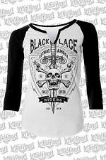 Lethal Angel Wings Black Lace Riders Skull Punk Goth Baseball Tee Shirt LT20326