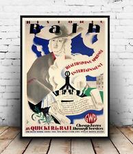 Historic Bath : old Railway advert ,  Reproduction poster, Wall art.