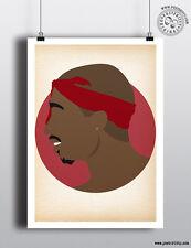 Tupac Shakur-Minimaliste Hip Hop têtes cheveux Poster Minimal posteritty Art 2Pac