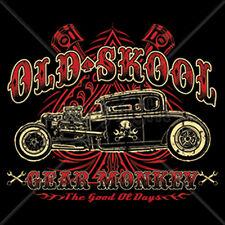 Old School Gear Monkey Mechanic Hot Rat Rod Car Auto Racing T-Shirt Tee