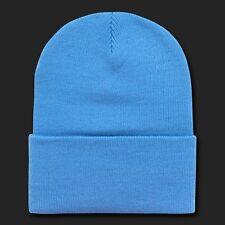 Sky Blue Ski Knit Beanie Hat Cap Skull Snowboard Winter Warm Hats Cuff Beanies
