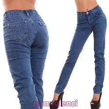 Jeans donna pantaloni mom boyfriend slim vita alta casual curvy nuovi AE-6190