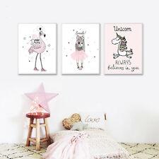 Kawaii Girl Unicorn Flamingo Cartoon Canvas Poster Wall Art Print Kid Room Decor