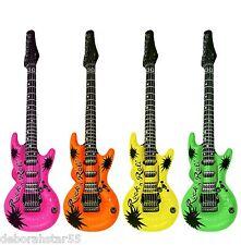 Inflatable Blow Up Guitar Neon Colours 106cm Pop Idol Rocker Costume Prop Toy