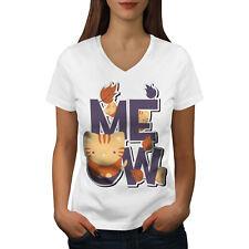 93d85fcb Wellcoda Meow Funny Joke Cute Cat Womens V-Neck T-shirt, Pet Graphic
