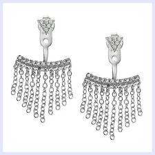 Rhodium Sterling Silver CZ Crystal Chain Tassel 2 in 1 Stud Jacket Post Earring