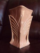 """Vintage Mccoy Art Deco 9"""" Pink glass finish Vase Nice!"""