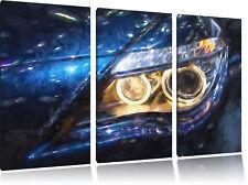 BMW Angel Eyes Pinsel Effekt 3-Teiler Leinwandbild Wanddeko Kunstdruck