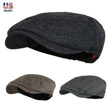 Classic Men's Solid Plain Wool Tweed Newsboy Ivy Gatsby Cabbie Driving Golf Hat