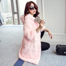 Chaqueta abrigo piel ecológico sintético rosa capucha suave 1349