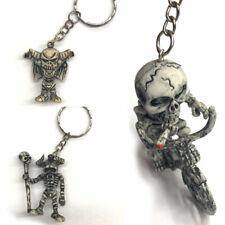 Skeleton Motorbike Keyring Skull Rubber Motorcycle Key Chain Gift Keyfob Present