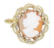 Ring Gold 585 Kamee Goldring 14 Karat Damenring Muschelcameo Gelbgold