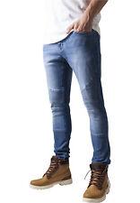 URBAN Classics Jeans Biker Jeans Pantaloni Slim Blue Slavati
