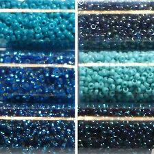 Miyuki Rocailles 15/0 rund 1,5 mm petrol, aqua, türkies hellblau 5g = 1 Röhrchen