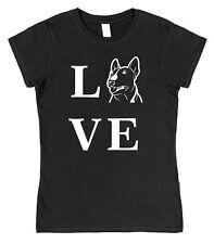 LOVE BULL TERRIER TYPE chien Femmes Ajusté T-shirt noir en coton rose PET bullie