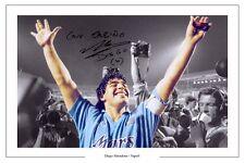 Diego Maradona Napoli Leyenda firmó autógrafos Foto De Cartel De Fútbol