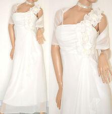 ABITO LUNGO BIANCO elegante VESTITO SETA + STOLA cerimonia sposa matrimonio  20X 99f3d313726