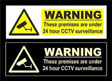 These Premises Are Under 24 Hr CCTV Surviellance Signs White / Photoluminescent