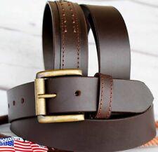 Mens Women Black 100% Cowhide Leather Belt Heavy Duty Work Dress Jeans 2612RS01