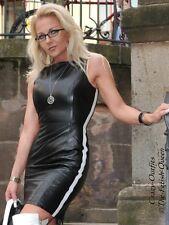 Lederkleid Leder Kleid Schwarz / Weiß Größe 32 - 58 XS - XXXL