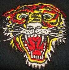 ED HARDY TIGER T-SHIRT Black Christian Audigier embroidered TEE Shirt Women's W
