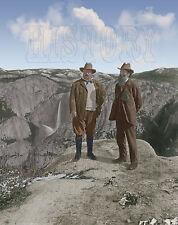 Theodore Teddy Roosevelt John Muir Yosemite Glacier Point Sierra color photo
