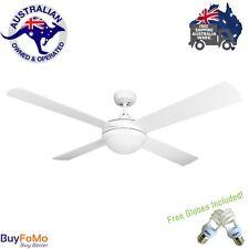 """Domus Ceiling Fan  52"""" 4 White Wooden Blade Fan W/Light Reversible 60watt Motor"""