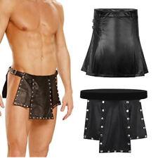 Sexy Men Leather Skirt Gladiator Pleated Kilt Costume Party Clubwear Fancy Dress