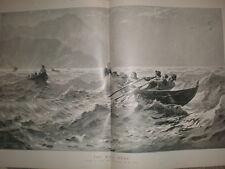 La CORSA a casa da Hans Dahl 1896 Large Old Print CANOTTAGGIO lago di LOCH o Fiordo