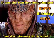 Babylon 5 B5 G'Kar Londo Sheridan PERSONNALISED HAPPY BIRTHDAY Greeting ART CARD