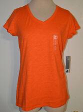 cc700e71435de3 Women s JCP Flame Orange Short Sleeve V-Neck Slub T-Shirt Ltwt. Top
