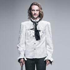 Devil Fashion Men Gothic Shirt White Top Court Steampunk  Aristocrat + Cravat