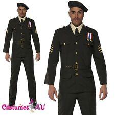 Mens Retro 40s Army Wartime Officer Costume ww2 1940s Military FBI Fancy Dress