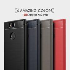 Housse etui coque silicone gel carbone pour Sony Xperia XA2 Plus + film ecran