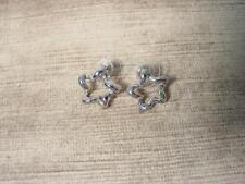 """""""Jj"""" Jonette Jewelry Bright Silver Pewter 'Abstract Star' Earrings"""