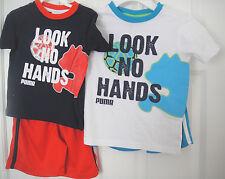 PUMA NWT Boy 2PC Set Top Shirt Shorts Look No Hands Blue Red White 2 3 4 5 6 7