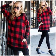 Plus Red Buffalo Plaid Checkered Tunic Sweater Long Sleeve Casual 1X 2X 3X