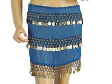 Blue Wrap Belly Dance Hip Scarf Costume Belt Coin