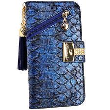 Blue Snake Skin PU Leather Flip Purse Wallet Case Card Holder Zipper for iPhone