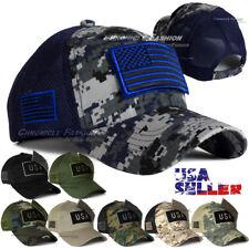 Tactical Military Baseball Cap USA American Flag Hat Dad Adjustable Trucker Mesh