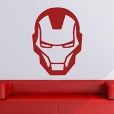 Iron Man Super-héros Logo À Tête Autocollant Art Mur (AS10222)