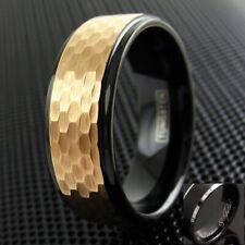 8mm Black Tungsten Men's Hammered Rose Gold Stripe Wedding Band - Engravable