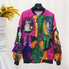 Womens Ladies Fashion Graffiti Art Print Baseball Jacket Coat Outwear Free Size