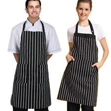 Regolabile Righe Nere Grembiule Con 2 Tasche Chef Cucina Attrezzo
