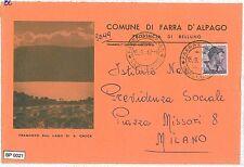 CARTOLINA d'Epoca: BUSTA COMUNALE: BL - FARRA D'ALPAGO