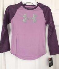 UNDER ARMOUR NWT Girls Tee Top Shirt Logo Purple Silver Bling Shimmer Raglan 4 6